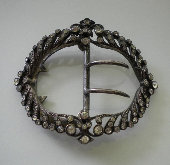 Antique Sterling French Paste Belt Buckle