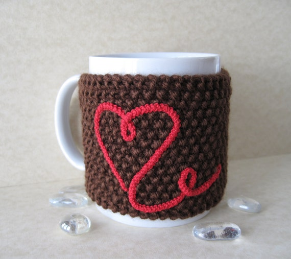 Brown Cup Cozy, Mug Cozy, Tea Cup Cozy with Red Heart and Wood Tree Branch Button