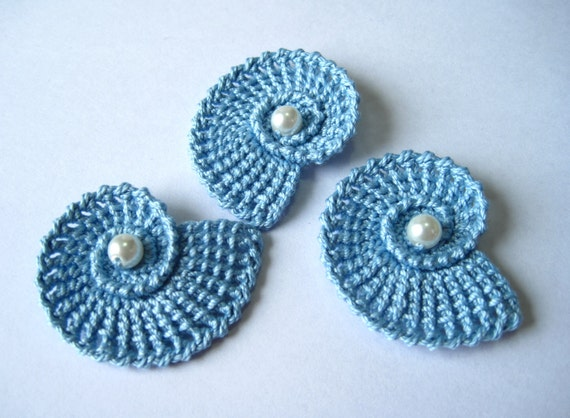 Crochet Sea Shells Applique with Pearls in Light Blue