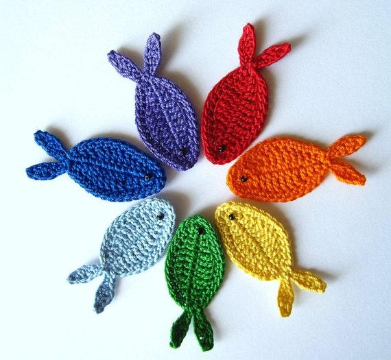 Rainbow Fish Appliques, Set of 7