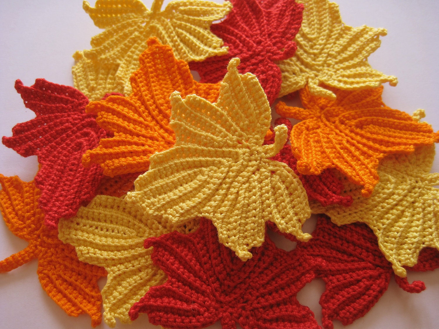 Free crochet patterns for autumn leaves dancox for crocheted maple leaves in red orange and yellow free crochet patterns bankloansurffo Image collections