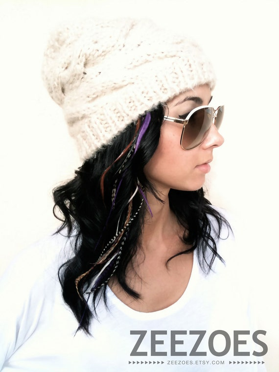 Purple (Long)  6 Feather Hair Extension - Salon Grade Free Micro Link Bead