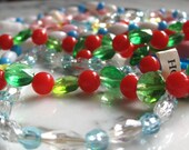 1960's Plastic Mardi Gras Beads -- 6 Strands in Multiple Colors and Shapes