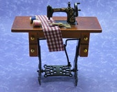 Dollhouse Miniature Scale Old fashioned Sewing Machine With Cloth Scissors And Thread