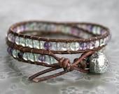 Double Wrap Leather Bracelet with Genuine Rainbow Flourite
