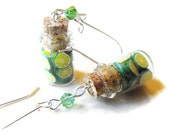 Zesty lime earrings-miniature bottles filled with lime slices dangling from kidney hooks