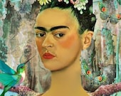 Frida Kahlo Portrait Art Print Mexican Spanish Illustration Famous Women 5x7 Wall Hanging
