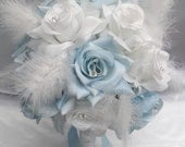 """17 Piece Package Wedding Bridal Bride Maid Of Honor Bridesmaid Bouquet Boutonniere Corsage Silk Flower BABY BLUE """"Lily Of Angeles"""" WTBL01"""