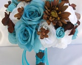 "17 Piece Package Wedding Bridal Bride Maid Of Honor Bridesmaid Bouquet Boutonniere Corsage Silk Flower TURQUOISE BROWN ""Lily Of Angeles"""