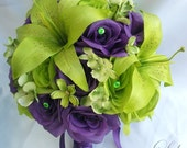 "17 Piece Wedding Flower Package Bridal Bouquet Bride Maid Of Honor Bridesmaid Boutonniere Corsage Silk GREEN PURPLE ""Lily of Angeles"" PUGR01"