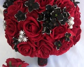 "2 pieces Wedding Bridal Bride Bouquet Groom Boutonniere Gem Jewelry Jewel RED BLACK ""Lily of Angeles"" REBK07"