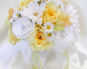 "17 Piece Package Wedding Bridal Bride Maid Of Honor Bridesmaid Bouquet Boutonniere Corsage Silk Flower YELLOW WHITE ""Lily Of Angeles"" YEWT02"
