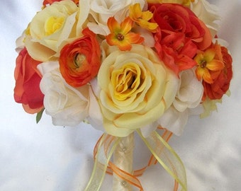 """17 Piece Package Wedding Bridal Bride Maid Of Honor Bridesmaid Bouquet Boutonniere Corsage Silk Flower ORANGE YELLOW """"Lily Of Angeles""""ORYE01"""