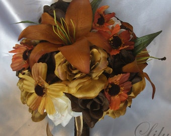 "17 Piece Package Wedding Bridal Bride Bouquet Boutonniere Silk Flower GOLD FALL BROWN Mustard Copper Burnt Orange ""Lily Of Angeles"" ORBR05"