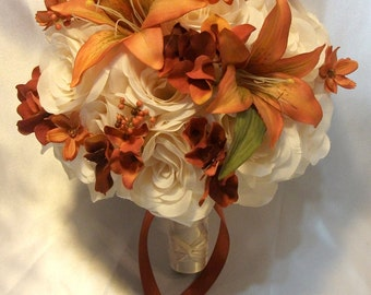 "17 Pieces Package Silk Flower Wedding Decoration Bridal Bouquet Dusty Burnt Orange Copper Bouquets ""Lily Of Angeles"" IVOR03"