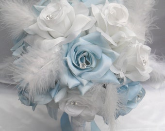 "17 Piece Package Wedding Bridal Bride Maid Of Honor Bridesmaid Bouquet Boutonniere Corsage Silk Flower BABY BLUE ""Lily Of Angeles"" WTBL01"