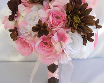 """17 Pieces Package Silk Flower Bouquets Bride Maid Bridesmaid Mothers Wedding Decoration Bridal Bouquet PINK BROWN """"Lily Of Angeles"""" PIBR01"""