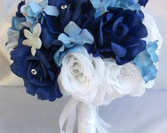 "17 Piece Package Wedding Bridal Bride Maid Honor Bridesmaid Bouquet Boutonniere Corsage Silk Flower DARK BLUE WHITE ""Lily Of Angeles"" WTBL02"