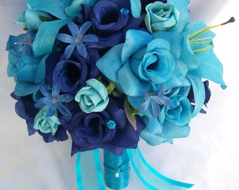 """17 Piece Package Wedding Bridal Bride Maid Honor Bridesmaid Bouquet Boutonniere Silk Flower TURQUOISE BLUE MALIBU """"Lily of Angeles"""" TUBL01"""