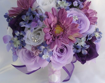 "Silk Flower Wedding Bouquet Arrangements Artificial Bridal Bouquets Silk Flowers PURPLE LAVENDER WHITE ""Lily Of Angeles"" MVPU01"