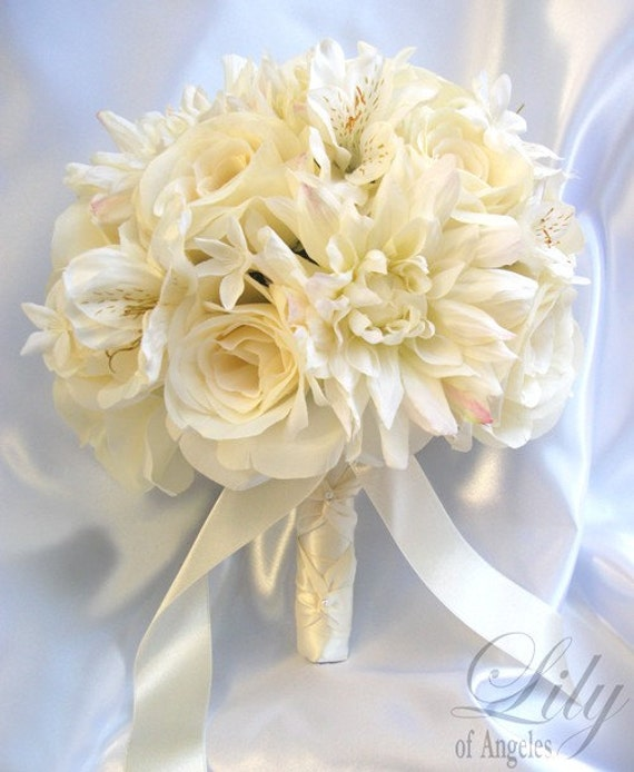 17 Pieces Package Silk Flower Wedding Decoration Bridal Bouquet IVORY