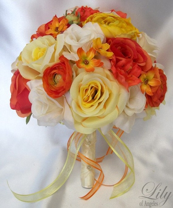 "17 Piece Package Wedding Bridal Bride Maid Of Honor Bridesmaid Bouquet Boutonniere Corsage Silk Flower ORANGE YELLOW ""Lily Of Angeles""ORYE01"