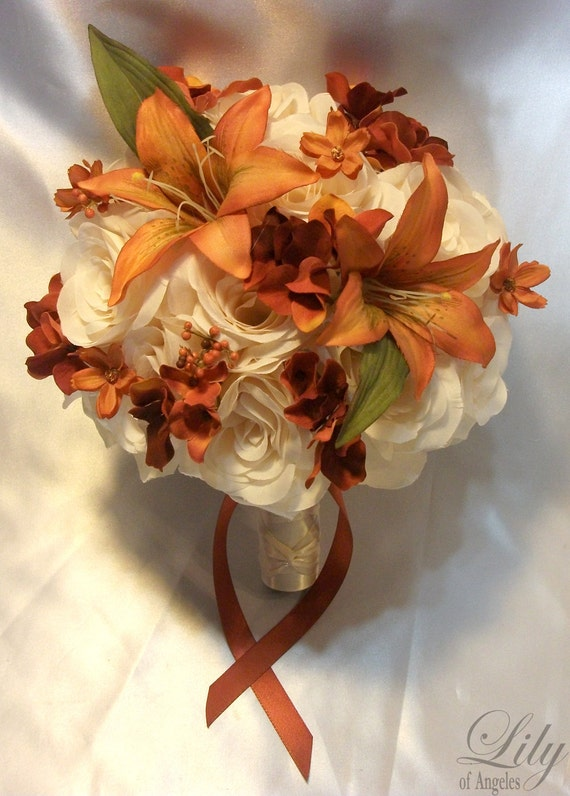 """RESERVED LISTING Package Silk Flower Wedding Decoration Bridal Bouquet """"Lily Of Angeles"""""""