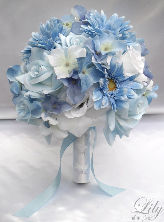 "17 Piece Package Wedding Bridal Bride Maid Of Honor Bridesmaid Bouquet Boutonniere Corsage Silk Flower BABY BLUE ""Lily Of Angeles"" WTBL05"