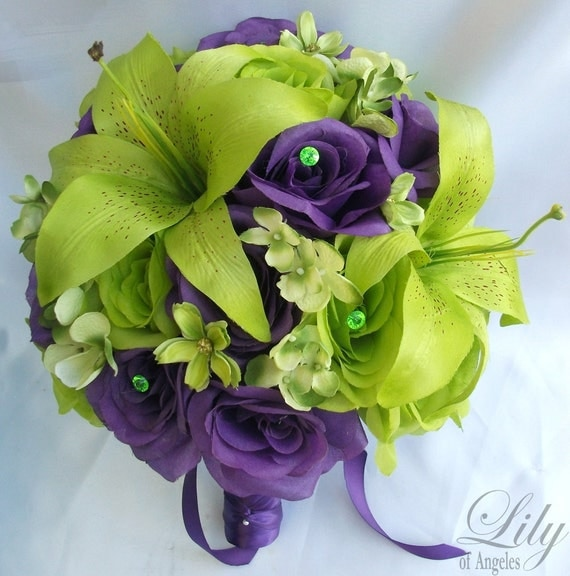 """17 Piece Wedding Flower Package Bridal Bouquet Bride Maid Of Honor Bridesmaid Boutonniere Corsage Silk GREEN PURPLE """"Lily of Angeles"""" PUGR01"""