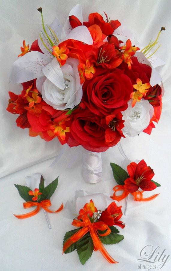 "17pcs Wedding Bridal Bouquet Set Decoration Package Silk Flowers White RED ORANGE ""Lily Of Angeles"" REWT06"