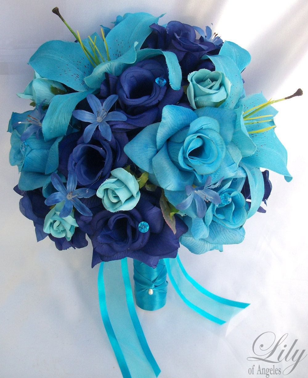 Wedding Bouquets With Blue Flowers: Items Similar To 17pcs Wedding Bridal Bouquet Flower