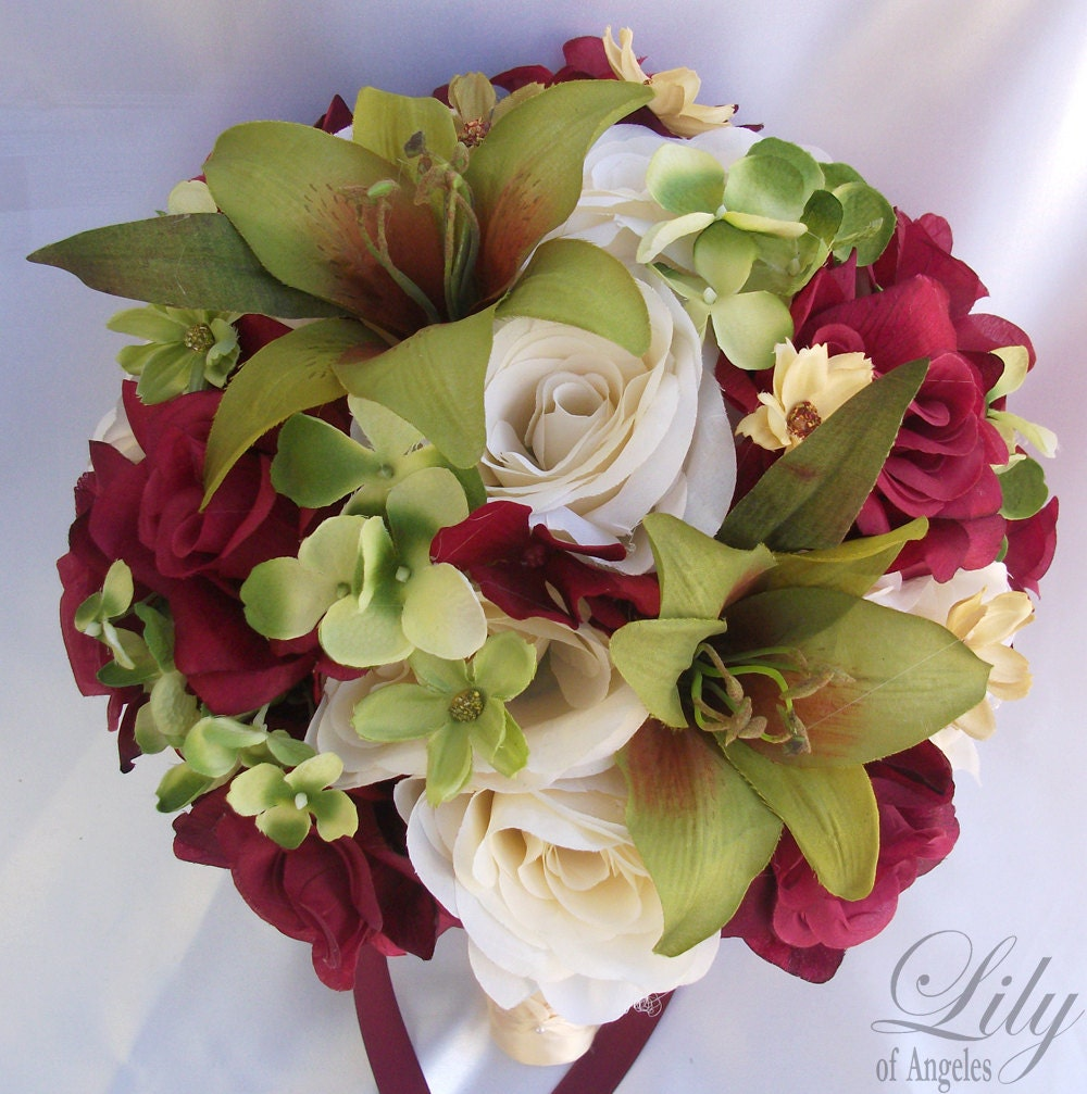 Wedding Bouquet Packages Silk : Pcs wedding bridal bouquet set decoration package silk