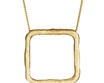 Square Pendant Necklace,  Recycled Gold Necklace, Gold Square Necklace, Geometric Necklace, Geometric Jewelry, Hammered Necklace