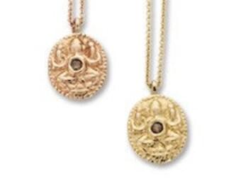 Ganesha Necklace, Ganesha Pendant in 14k Rose Gold or Yellow Gold with rose cut diamond, Diamond Necklace, Ganesh Pendant, Ganesh Pendant