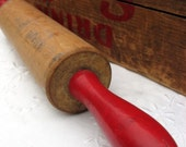Vintage Rolling Pin Wooden Red Handles Treasury Item