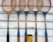Vintage Badminton Racquets Wooden Set of 5, Shuttlecocks in Can 3