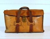 Vintage Leather Luggage Satchel Bag Handsewn