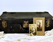 Reserved for J. Please Do Not Purchase if you are not J. ThanksVintage Leather Luggage Travellers Suitcase 1920s Black