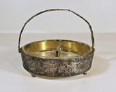 Vintage Antique 1890s Repousse Serving Dish Silverplate Caddy, Glass Dish