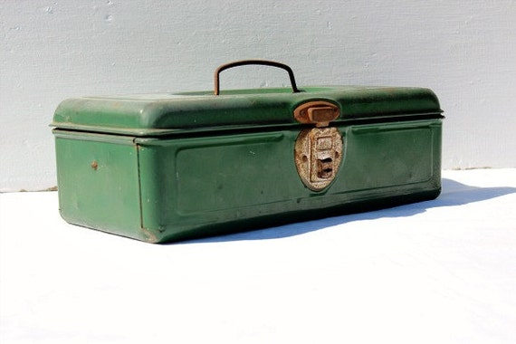 Vintage Fishing Tackle Box Green Metal Industrial