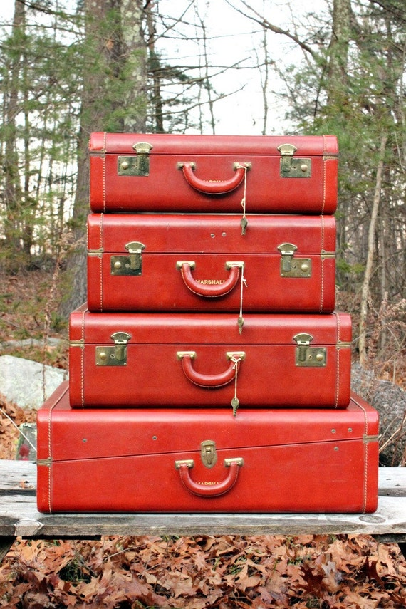 Reserve for Kathryn: Vintage Leather Luggage Set of 4 Cowhide Keyed