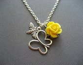 SALE Yellow Rose with Butterfly and Bee Necklace. Silver Butterfly and Bumblebee Necklace. Spring summer jewelry. Flower cabochon necklace.
