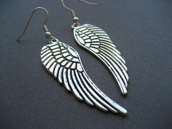Large Silver Angel Wing Earrings