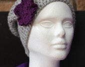 Woman's Grey Slouchy Hat with Purple Flower