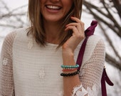 Hamsa bracelet, layering bracelet, karma bracelet - turquoise friendship bracelet