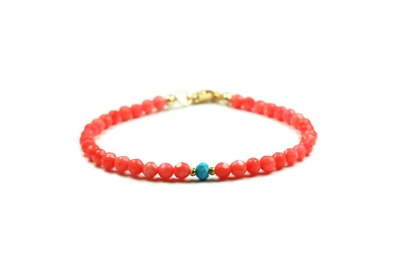Layering Bracelet - coral and turquoise layered bracelet