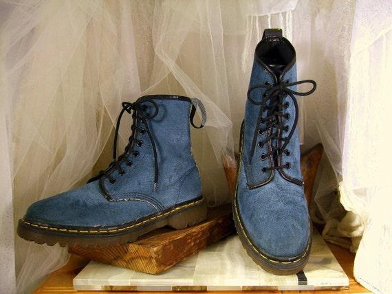 Vintage Denim Blue Velvet Doc Martens Dr Martin Combat Boots