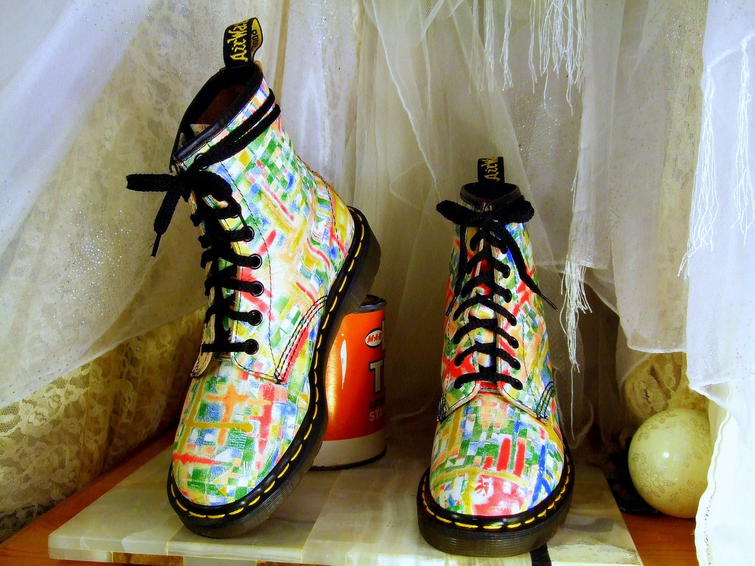 Vintage Unusually Bright and Colorful Dr Martens by DejaVintaj