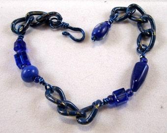 Fun & Fabulous Blue Chain and Glass Bead Bracelet