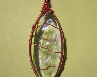 Iridescent Clear Glass Tile Wrapped in Repurposed Copper Wire Pendant